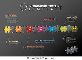 vettore, timeline, puzzle, infographic, sagoma