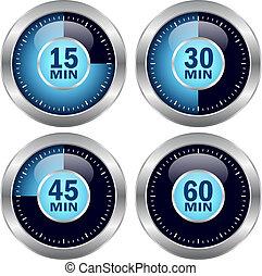 vettore, timer, icone