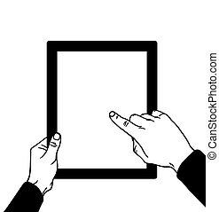 vettore, tocco, illustrazione, mani