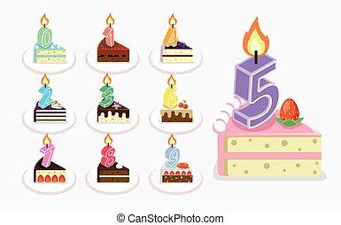 vettore, torta, compleanno, primo, candela