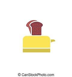 vettore, tostapane, icona