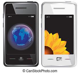 vettore, touchscreen, smartphone