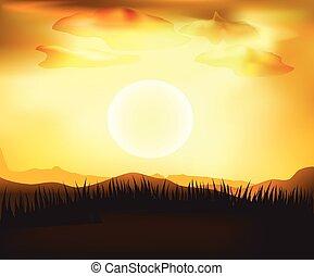 vettore, tramonto, paesaggio, fondo