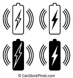 vettore, trasmissione, addebitare, set, potere, standard, icone, batteria, qi, fili