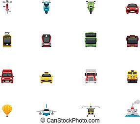 vettore, trasporto, icona, set