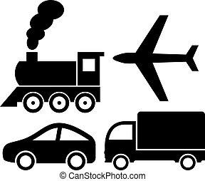 vettore, trasporto, icone