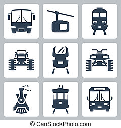 vettore, trasporto, icone, set