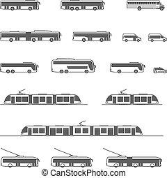 vettore, trasporto pubblico, icone