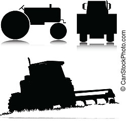 vettore, trattore, illustrazione
