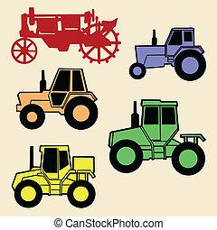 vettore, trattore, set, bianco, fondo
