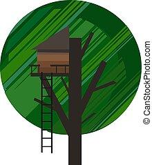 vettore, treehouse, fondo, ritratto, sopra, verde, o, colorare, illustrazione, sferico