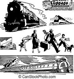 vettore, treno, retro, grafica
