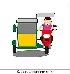 vettore, triciclo