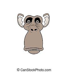 vettore, triste, scimmia, faccia