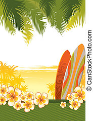 vettore, tropicale, illustrazione, con, surfboad, &, fiori,...