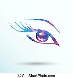 vettore, trucco, occhio, blu, frustate, lungo, donna, ...