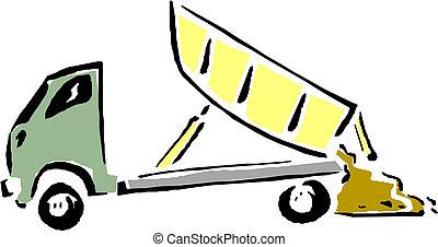vettore, truck., cartone animato, discarica