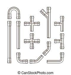 vettore, tubi per condutture, set, metallo, isolato