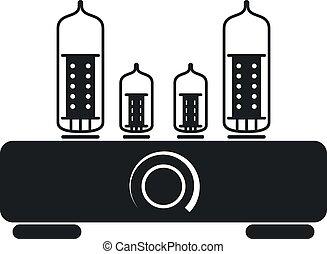 vettore, tubo, amplificatore, ciao fi, icona