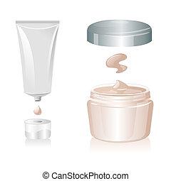 vettore, tubo, isolato, fondo, bianco, crema