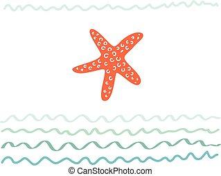 vettore, tuo, cartolina, manifesto, astratto, o, -, vacanza, illustrazione, viaggiare, starfish., disegno, mare, disegnato, fondo, mano, turismo, viaggio, scheda, ozio