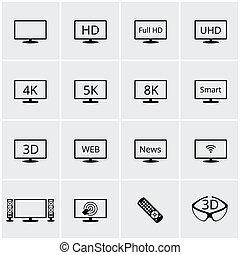 vettore, tv, icone, set
