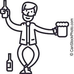 vettore, ubriaco, colpi, editable, illustrazione, segno, fondo, icona, linea, uomo