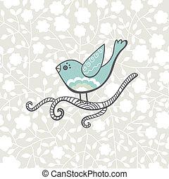 vettore, uccello, su, il, ramo