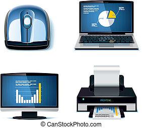 vettore, ufficio, icona, set., p.3