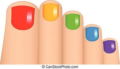 vettore, unghie piede, illustrazione, colorito