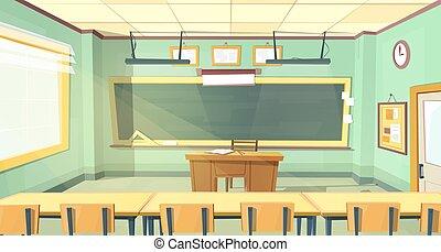 vettore, università, cartone animato, illustrazione, aula