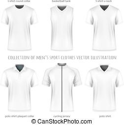 vettore, uomini, sport, collezione, vestiti