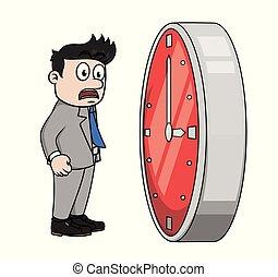 vettore, uomo affari, illustrazione, no, tempo