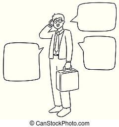 vettore, uomo affari, smartphone, set, usando