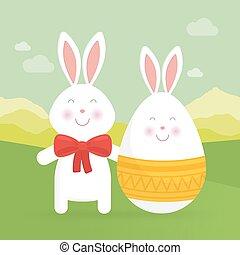 vettore, uovo, coniglietto, pasqua, carino, illustration.