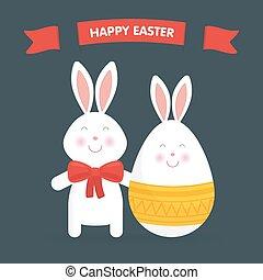 vettore, uovo, coniglietto, pasqua, carino, illustrazione