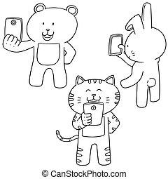 vettore, usando, smartphone, set, animale