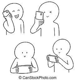 vettore, usando, smartphone, set, persone