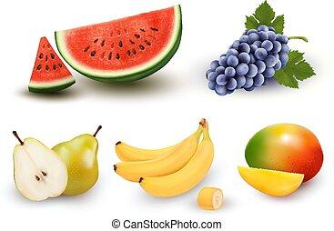 vettore, uva, mango., collezione, pera, berries., frutta, banana, anguria, set.