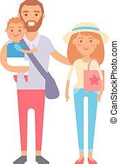 vettore, vacanza, famiglia, illustration.