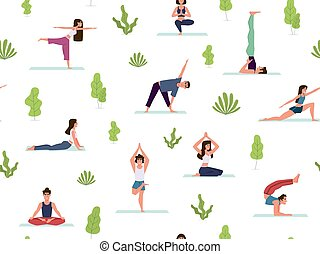 vettore, vario, struttura, dimostrare, persone, yoga, ...