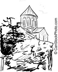 vettore, vecchia città, illustrazione