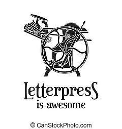 vettore, vecchio, illustration., letterpress, vendemmia, impressionante, macchina, stampa, stampa, logotipo, design.