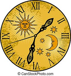 vettore, vecchio, illustrazione, orologio