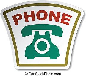 vettore, vecchio, telefono, adesivo