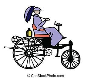 vettore, vecchio-tempo, bicicletta, bianco, fondo