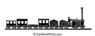 vettore, vecchio-tempo, treno, bianco, fondo