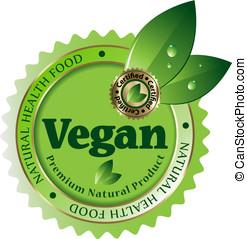 vettore, vegan, label/sticker/emblem