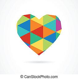 vettore, vendemmia, geometrico, cuore