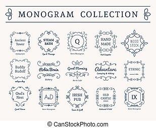 vettore, vendemmia, monogram, set